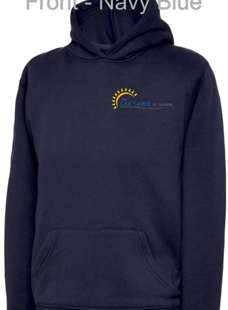 Navy hoodie back with writing